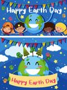 Happy Earth Day card with happy kids on earth