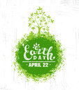 Happy Earth Day Eco Sustinble Design Element. Vector Rough Banner Concept On Grunge Background