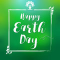 Happy Earth Day hand lettering leaf frame card