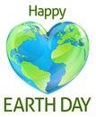 Happy Earth Day Heart Globe Design