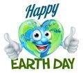 Happy Earth Day Heart Globe Mascot Design