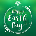 Happy Earth Day lettering globe and leaf banner