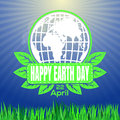 Happy Earth Day logo against the backdrop of sunlit green spring Royalty Free Stock Photo