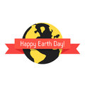 Happy earth day with planet and red ribbon
