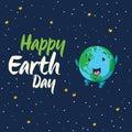 Happy Earth Day vector cartoon card Royalty Free Stock Photo