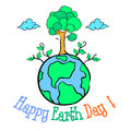 Happy Earth Day with world and tree