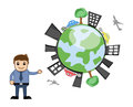 Happy earth ecology vector concept conceptual drawing art of businessman presenting a developed industrial illustration Royalty Free Stock Image