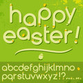Happy easter alphabet letters set baby birds hatched eggs Stock Photography