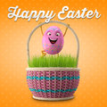Happy easter amazing d postcard banner background eggs merry set spring series cartoon objects Stock Photo
