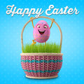 Happy easter amazing d postcard banner background eggs merry set spring series cartoon objects Stock Photography