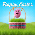 Happy easter amazing d postcard banner background eggs merry set spring series cartoon objects Royalty Free Stock Images