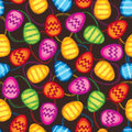 Happy easter background abstractl geometric seamless texture eggs bright spring pattern on dark Royalty Free Stock Images