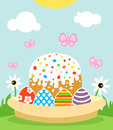 Happy easter background with cake and eggs card Stock Photo