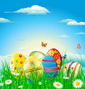 Happy easter background each element in a separate layers very easy to edit eps file Royalty Free Stock Photo