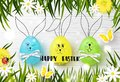 Happy Easter background with funny colorful eggs, grass, flowers, ladybug and butterfly on wooden texture. Egg hunt. Vector illust