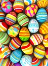 Happy easter background with painted eggs conceptual illustration d render Stock Images