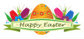 Happy easter banner with egg and tulips eps Stock Photo