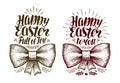 Happy Easter, banner. Holiday label or symbol. Lettering vector illustration
