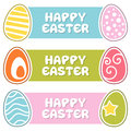 Happy easter banners with retro eggs a collection of three horizontal colorful on blue green and pink background eps file Stock Image