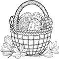Happy Easter. Black and White Doodle Easter Eggs in the basket. Coloring book for adults for relax and meditation. Vector isolated
