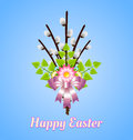 Happy easter bouquet made of catkins flowers leaves and ribbon Stock Photography