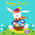 Happy easter bunny with a basket and eggs Royalty Free Stock Images