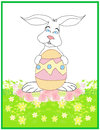 Happy Easter bunny carrying egg Royalty Free Stock Images