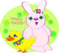 Happy Easter Bunny and Duck Stock Photos