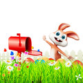Happy easter bunny letter box playing Royalty Free Stock Photo