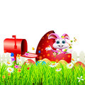 Happy easter bunny letter box playing Stock Photo