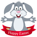 Happy Easter Bunny Rabbit with Ribbon Royalty Free Stock Photo