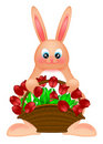 Happy Easter Bunny Rabbit with Tulips Basket Stock Photo