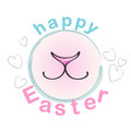 Happy Easter Bunny. Vector Greeting Card with rabbit cute nose and smile