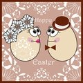 Happy easter card animated cartoon love card with monsters funny creatures collection Royalty Free Stock Images