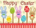 Happy Easter card or banner with traditional symbols. Vector illustration