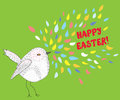 Happy easter card with bird funny design Royalty Free Stock Photography