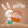 Happy easter card bunny carrying basket egg Royalty Free Stock Photo