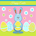 Happy easter card with bunny and eggs vector illustration Stock Photography
