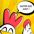 Happy Easter card with cock, golden egg and text cloud. Comics style
