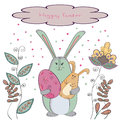 Happy Easter card with cute bunny and doodle flowers. Royalty Free Stock Photo