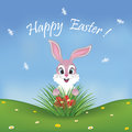 Happy Easter card with a cute pink bunny finding eggs Royalty Free Stock Photo
