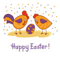 Happy Easter card with cute rooster, hen and egg.