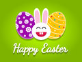 Happy easter card with easter eggs and bunny over green background Stock Images