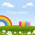 Happy easter card with eggs rainbow or spring background green grass flowers and the useful also as greeting eps file Stock Image