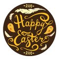 Happy Easter card hand drawn lettering phrase with birds, feathers and herbs isolated on brown background. Vector