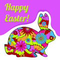 Happy Easter card with rabbit and bubble banner