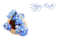 Happy Easter card with spring flowers isolated on white
