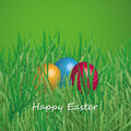 Happy easter card three easter eggs in the grass with painted illustration template freely scalable and editable vector format Royalty Free Stock Images