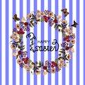 Happy Easter- card. vector illustration eps10. Floral frame made from daisies, poppy, monstera, hibiscus flowers, butterfly. Purpl