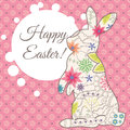 Happy Easter card with vintage rabbit and bubble banner